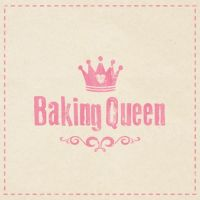 "Serviette ""Baking Queen"" grau"