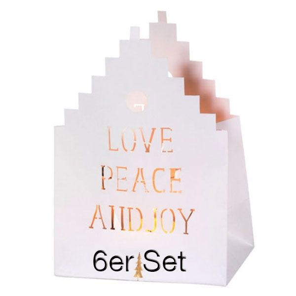 "Weihnachts Lichthauskarte ""Love Peace and Joy"" 6er Set"
