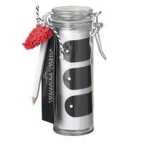 Tafellacketiketten im Glas mit Stift und Schwamm (27 Etiketten)