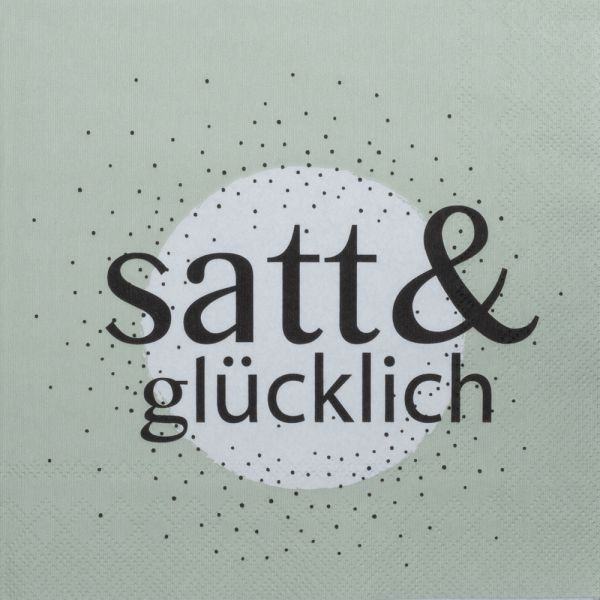 """Serviette """"satt & glücklich"""""""