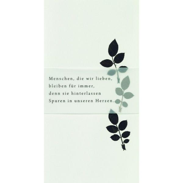 """Weiße Trauerkarte """"Menschen, die wir lieben, bleiben für immer,..."""""""