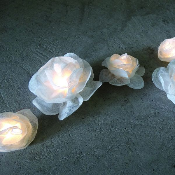 Blumen Lichterkette Weiss