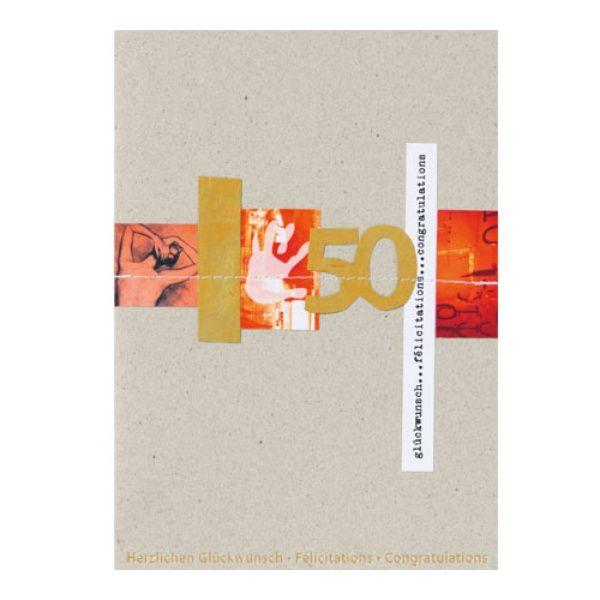 """Jubiläums Papierschnipsel Karte """"50 - Happy Birthday"""""""