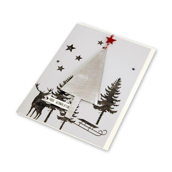 """X-mas Metallkarte """"Baum - Frohe Weihnachten"""""""