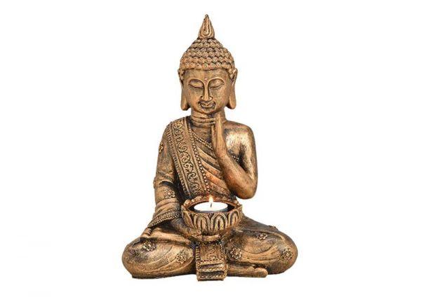 Buddha mit Teelichthalter aus Poly Gold