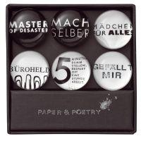 """6 Magnete """"Master, Büroheld, …"""""""