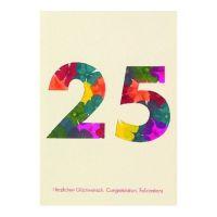 """Blumenzahlenkarte """"25 - Herzlichen Glückwunsch"""""""