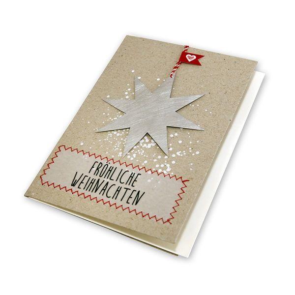 """X-mas Metallkarte """"Stern - Fröhliche Weihnachten"""""""