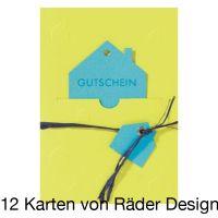 """Gutscheinpräge Karte """"Haus"""" 12er Set"""